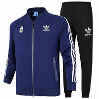 ADIDAS Clover 2018 autumn new baseball jacket sports running training pants two-piece suit Blue