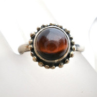Tigers Eye Ring Sterling Silver Vintage Hand Wrought Natural Gemstone Size 8 1/2