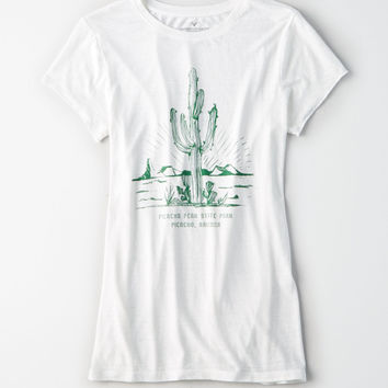 AE Burnout Desert Graphic Tee, Natural White