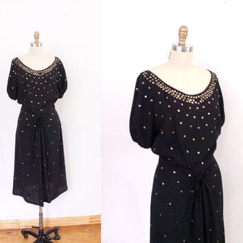 1940s Dress / 40s Gold Stud Dress / Cocktail Dress