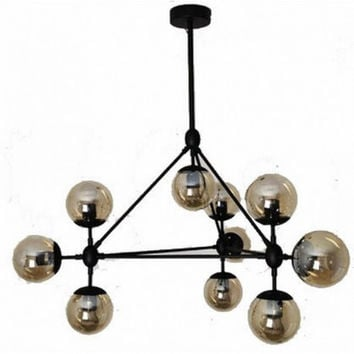 10 light modern glass ball vintage black chandeliers
