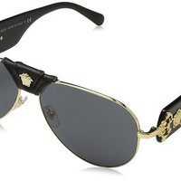ONETOW Versace VE2150Q - 100287 Gold/Black Aviator Sunglasses 62mm
