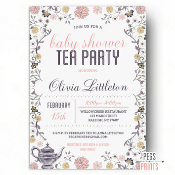 tea party baby shower invitation for girl baby shower tea party invitation baby shower