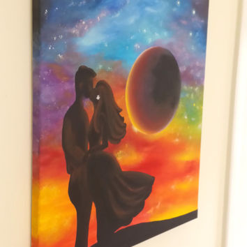 "Fantasy Valentines Moon FREE SHIPPING- Original Acrylic Painting Canvas Wall Decor 16""X20"" Lovers red yellow orange black blue purple green"