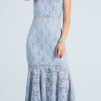 Lace Halter High and Low Formal Dress Keyhole Back Silver