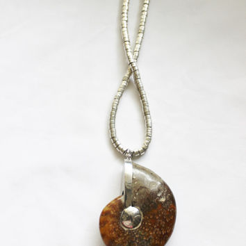 Large pendant necklace, ammonite stone, silver seed beads and tibatan silver beads