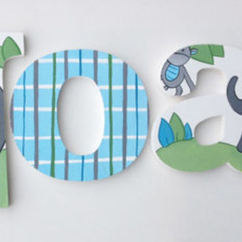 Elephant Themed Wooden Wall Name Letters / Hangings, Hand Painted for Boys Rooms, Play Rooms and Nursery Rooms