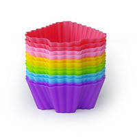 MIREN Reusable and Non-stick Silicone Baking Cups / Cupcake Liners/Muffin Cup Molds in Storage Container-12 Pack-6 Vibrant Colors Tree