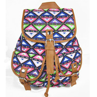 Ethnic Style Lady's Bags Backpacks Travel Rucksack Satchel Canvas Travel Bags School Book Bag Diamond Check Print Mochila