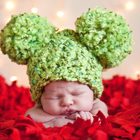 Cyber Monday BOGO 50% Off or Buy 2 Get 1 FREE...Christmas Baby Hat, Preemie Newborn Baby Girl or Baby Boy Pom Pom Mouse Ear Hat - Lime Green
