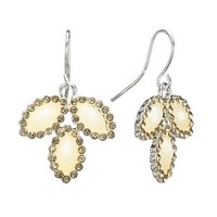 LC Lauren Conrad Silver Tone Simulated Crystal Leaf Drop Earrings