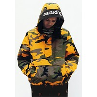 Supreme 17fw Hooded Logo Half Zip Pullover S--XL