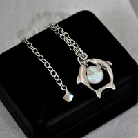 Dolphin Necklace, Opal Necklace, Sterling Silver, Necklace Chain, Opal Jewelry, Dolphin Charm, Adjustable, 925 Sterling Silver, Nautical