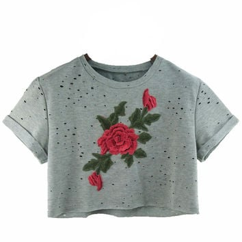 Rosa Rose Ripped Cropped Top Tee