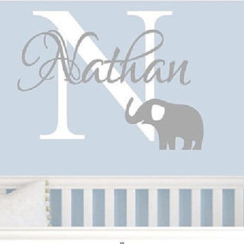 Boys Wall decal,Elephant Wall Decal, Personalized nursery elephant , Children's wall decal, Baby Name vinyl wall decal, Boys Na