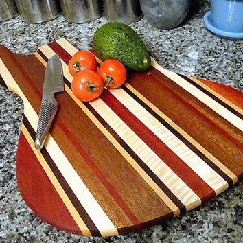 Handmade Wood Jazzy Bass Guitar Cutting Board - Cherry, Bloodwood,  & Curly Maple