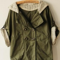 Product search_Green Bat Sleeve Hooded Trench Coat_udobuy - Fashion Dress with Free Shipping