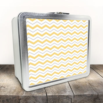 Gray Yellow Chevron Lunch Box - Pattern with Alternating Yellow Gray and White Zigzags - Tin School Lunch Art Craft Supplies Box