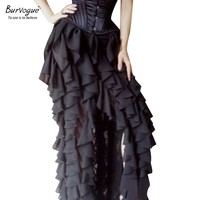 Burvogue Women Black VictorianVintage Gothic Lace Long Maxi Skirt Steampunk Corset Skirts Ball Grown Ruffled Midi Skirts