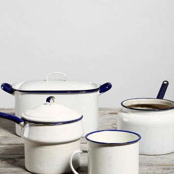 Vintage Blue-Trim Enamelware Kitchen Set - Urban Outfitters