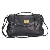 Aeropostale Womens Faux Leather Messenger Bag