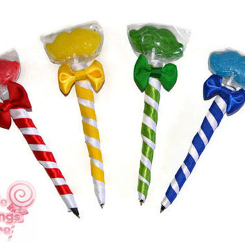 Mustache Lollipen, Mustache Lollipop Pen, Candy Pen, Lollipop Pen, Blue, Red, Green, Yellow, Favor, Birthday Favor, Bridal Shower, Silly