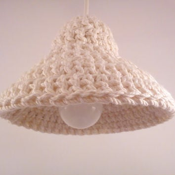 Pendant lamp BELL - hanging light - crochet lamp shade - lighting - home decor - beige - cotton cord - gift idea - decoration