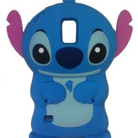Yuersal Blue Disney 3D Stitch pink Ears can Move Silicone Soft Case Cover for Samsung Galaxy S5