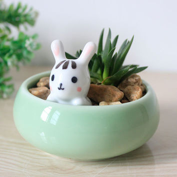Succulent Planter ~ Ceramic Bunny Decorative Plant Pot / Cactus Planter