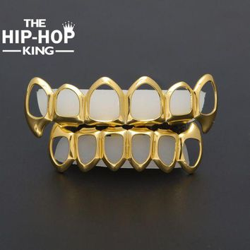 ONETOW Gold Color Hip Hop Teeth Grillz Hollow Top & Bottom Fangs Bottom Grillz Set Vampire Grills Sets Drop shipping
