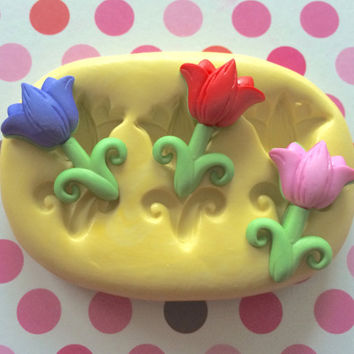 TULIPS FLOWERS Silicone MOLD - Silicone Mold, Cake Decor, Clay, Cake Pops, Craft Scrapbook, Charms, Fondant Mold, Gumpaste, Mold