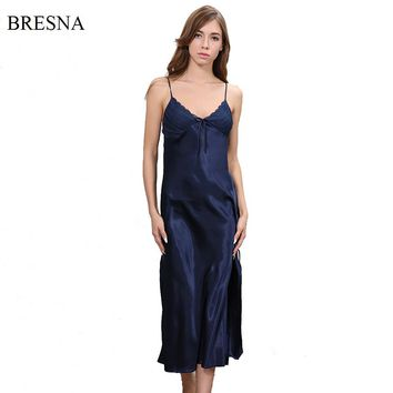 BRESNA New 2017 Long Satin Nightgown Women Night Dress Sleepwear Ankle-Length Spaghetti Strap Sexy Negligees Lace Solid Color