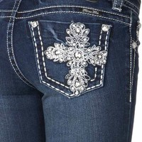 Miss Me DK 223 Bling Cross Dark Mid Rise Boot Cut Jeans
