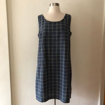 Vintage Patagonia Dress, Vintage 90s Dress, Vintage Plaid Dress, Vintage Summer Dress Size Medium Large