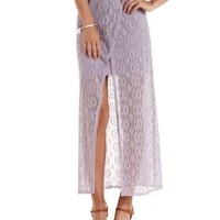 Purple Crochet Wrap Maxi Skirt by Charlotte Russe
