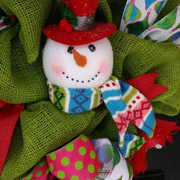 Christmas Wreath Snowman Wreath Happy Holidays Wreath Frosty the Snowman Christmas Wreath  Christmas  Snowman Decor Frosty