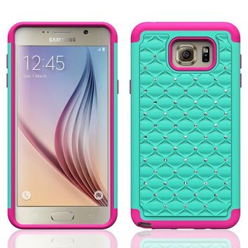 Galaxy Note 5 Case, Crystal Rhinestone Studded Hybrid Dual Layer Shock Absorbent Case for Samsung Galaxy Note 5 - Teal/Hot Pink