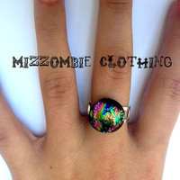 OOAK Dichroic glass  Ring  adjustable ring, silver plated ooak 1 available pink green blue gold rainbow