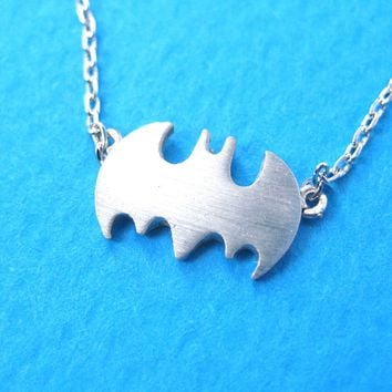 Bat Silhouette Symbol Batman Logo Pendant Necklace in Silver
