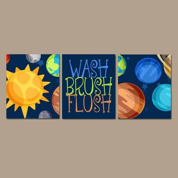 SPACE Bathroom Wall Art, Outer Space Planet Bathroom Decor Canvas or Prints Boy Bathroom Decor, Child Wash Brush Flush Rules, Set of 3