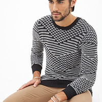 Abstract Chevron-Patterned Sweater Black/White