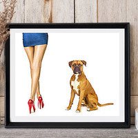 Dog print Boxer print Woman with dog Jean skirt High red heels Clip art dog Modern wall decor Dog lovers gift Printable dog Woman legs