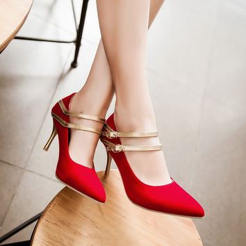 Double Ankle Straps Spike Gold Heel Women Pumps Wedding Shoes 9048
