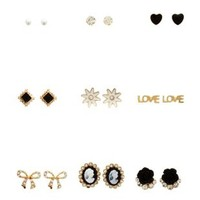 Gold Cameo & Rosette Stud Earrings - 9 Pack by Charlotte Russe