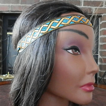 Aztec turquoise headband, Bohemian head band, Tribal headband, Hippie headband, Festival head wrap, Indie, Blue and Gold Fashion accessories