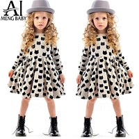 Girl Clothing For Kids Casual Wear Baby Frock Designs Girl Black Kitty Cats Pattern Clothes School Dress