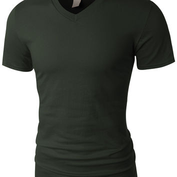 LE3NO PREMIUM Mens Lightweight Ultra Soft V Neck Short Sleeve T Shirt