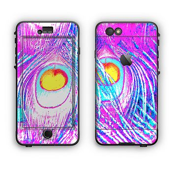 The Neon Pink & Turquoise Peacock Feather Apple iPhone 6 Plus LifeProof Nuud Case Skin Set