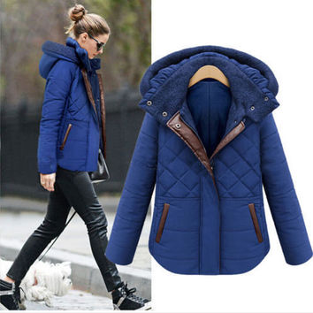 Winter Women Hooded Parka Fashion Slim Down Jacket Overcoat Warm Coat Outwear