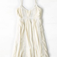 AEO Women's Crocheted Trim Babydoll Dress (Cream)